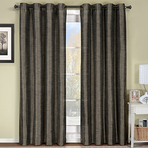 Deluxe Multilayer, Energy Efficient & Room Darkening Geneva Blackout Curtains. Pair of Two Top Grommet Blackout Panel, Triple-Pass Foam Back Layer, Elegant & Contemporary Draperies, Grey, 84″ Panel For Sale