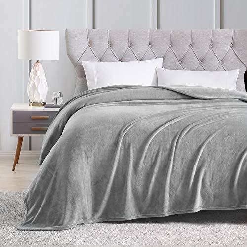 EXQ Home Fleece Blanket King Size Grey Throw Blanket for Bed or Couch - Super Soft Microfiber Fuzzy Flannel Blanket for Adults or Pet (Lightweight,Non Shedding)