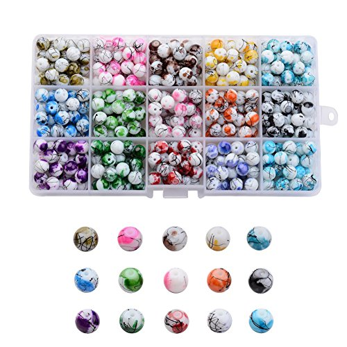 Pandahall 1 Box (About 420pcs) 15 Color 8mm Round Baking Painted Drawbench Glass Beads Assortment Lot for Jewelry Making