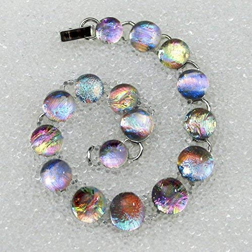 - Bracelet in Dichroic Fused Glass Sparkling, Dichroic Glass Mermaid Tears, Gold or Silver