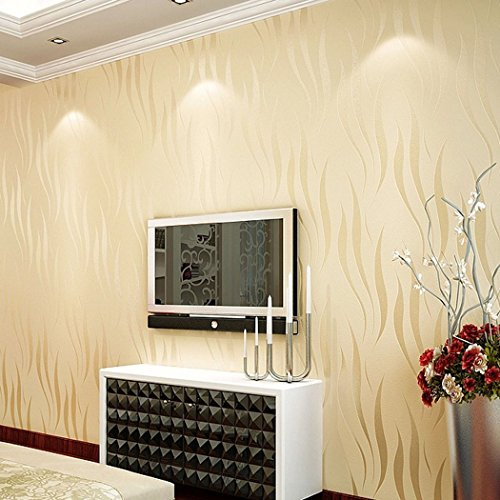 Modern Textured Wallpaper Non-Woven 3D Wave Pattern Environmental Protection Wallpaper Bricks for Living room BedrooTV Background [Beige] ()