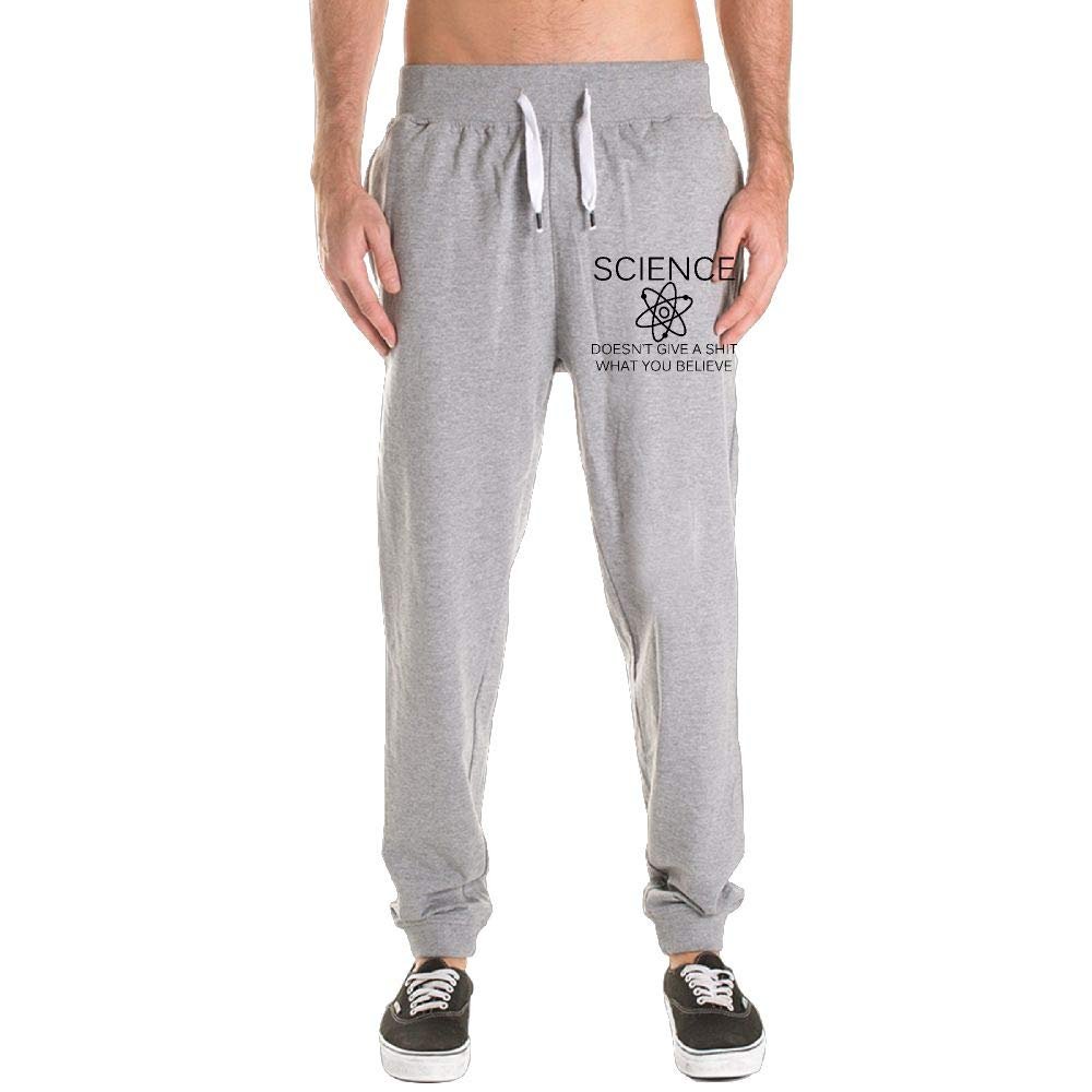100/% Cotton Science Doesnt Give A Shit What You Believe Jogger Pants Mens Comfortable Sweatpants