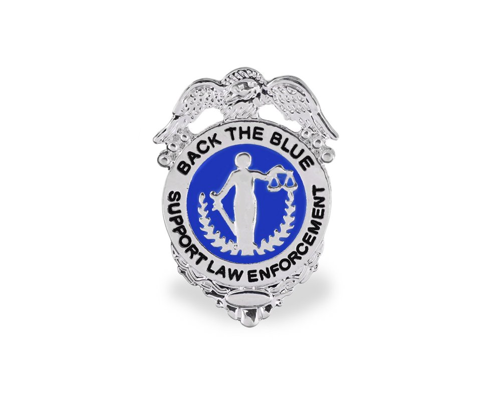 Fundraising For A Cause 25 Pack Police Support -Back The Blue Badge Pins in Bags (Wholesale Pack - 25 Pins)