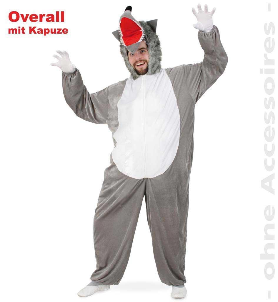 KarnevalsTeufel Herrenkostüm Wolf Overall mit Kapuze in Grau-Weiß mit Wolfsgesicht aus Weichem Plüschstoff Tierkostüm Bestie (XX-Large)
