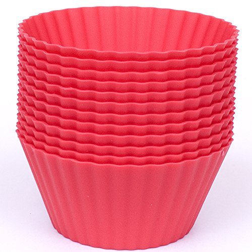 Silicone Cupcake Liners - Set Of 12 Premium Reusable Red BPA-Free Muffin Baking-Cups In Storage Container.