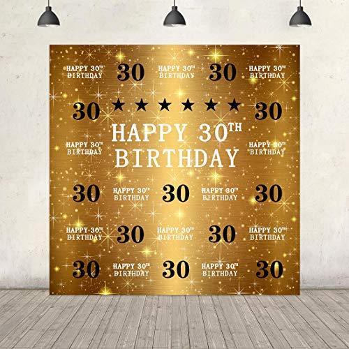 30th Birthday Backdrop Gold Glitter Diamonds Shiny Background