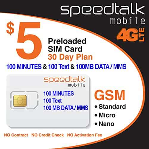 $5 SIM Card 100 Minutes Talk + 100 Text + 100 MB 2G 3G 4G LTE Data