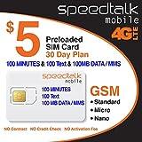 $5 Prepaid SIM card 100 Minutes Talk + 100 Text + 100 MB 2G 3G 4G LTE Data