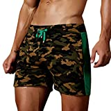 Cuekondy Men 2019 Summer Fashion Camouflage Swim Trunks Beach Board Shorts Casual Quick Dry Running Sports Short Pant(Army Green,S)