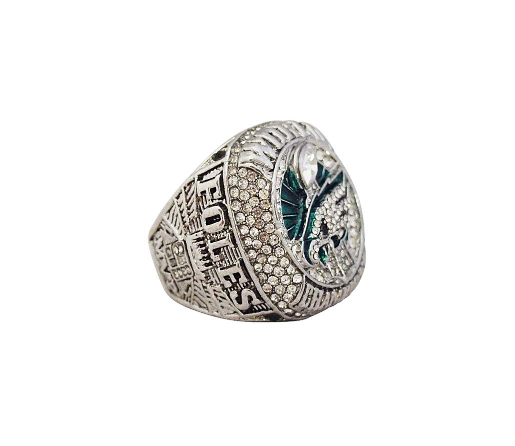 PHILADELPHIA EAGLES (Nick Foles) 2018 SUPER BOWL LII WORLD CHAMPIONS (Playing Vs. Patriots) Rare Collectible Replica Silver NFL Football Championship Ring with Cherrywood Display Box