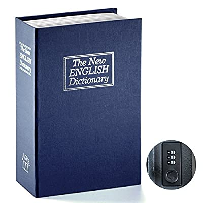 Book Safe with Combination Lock - Jssmst Home Dictionary Diversion Metal Safe Lock Box 2017, Black Small/Full Size, SM-BS04