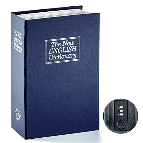 - Book Safe with Combination Lock - Jssmst Home Dictionary Diversion Metal Safe Lock Box 2017, SM-BS0406L, Navy Large