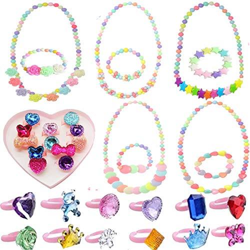 IDOXE Baby Jewelry Set Girls, Chunky Bubblegum Beaded Necklace Bracelet Cartoon Animal Flowers Fruit Rings Box Baby Girl Party Play Jewelry …