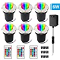 VOLISUN 6W Low Voltage RGB Landscape Lights with Transformer,In-ground Waterproof IP67 Garden Electric 12V Lighting,16 Color-Changing Outdoor Spotlights Decorative Pathway Lights 6 Pack