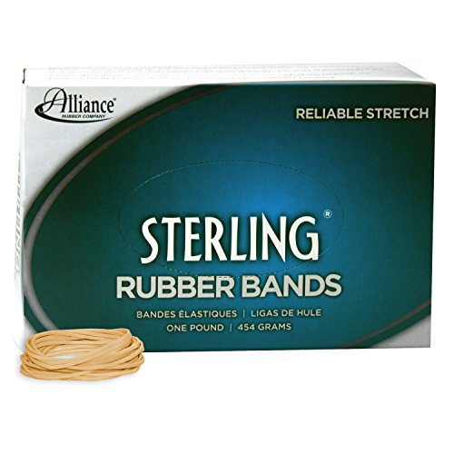 Alliance Rubber 24165 Sterling Rubber Bands Size #16, 1 lb Box Contains Approx. 2300 Bands (7/8 x 1/16, Natural Crepe)