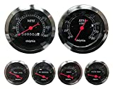 Dolphin Gauges-6 Gauge Mechanical Set - Black