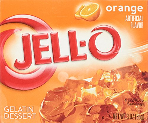 JELL-O Jello Gelatin Dessert 3 Ounce Boxes Pack of 4 (Orange Gelatin)