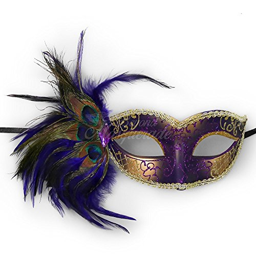 [Venetian Mask with Purple Feather Masquerade Mardi Gras Mask Jewel] (Purple Feather Mask)