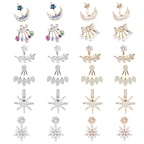 hefanny 12 Pairs Fashion Silver Plated Leaf Feather Stars Moon Butterfly Crystal Ear Jacket Front and Back Stud Earrings for Women Girls - Stud Earrings Jewelry Dangle