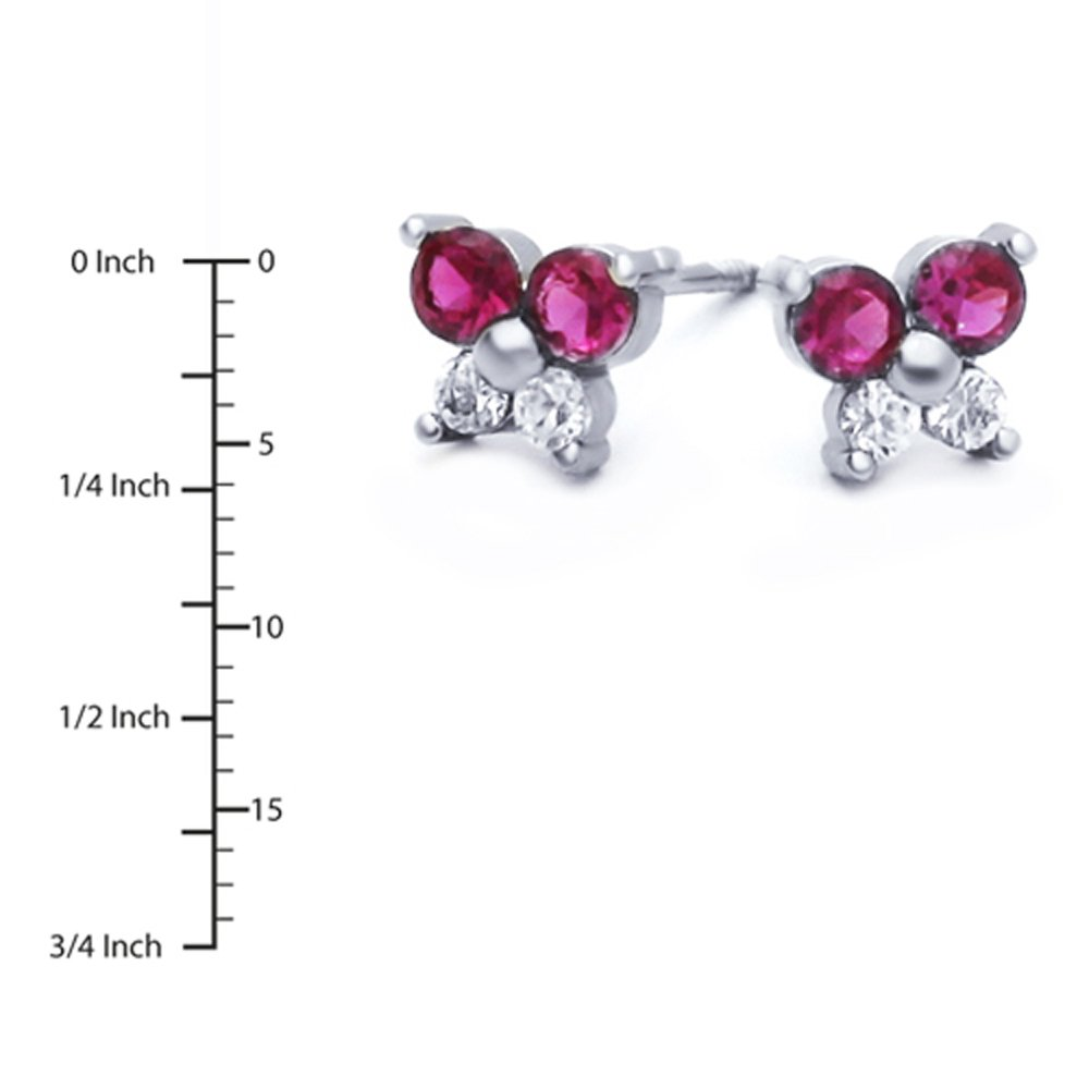 Sterling Silver Rhodium Plated Red CZ Butterfly Stud Screwback Earrings