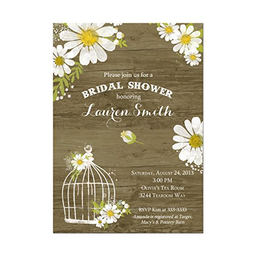 Rustic Daisy and Birdcage Bridal Shower Invitations, Rustic Daisies Shower Invitations, Base price is for a set of 10 5x7 inch card stock invitations with white envelopes