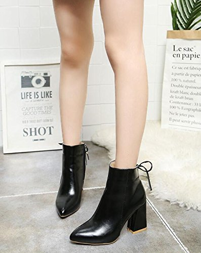 Boots With Korean And Spring Heeled Version Bare And Of Shoes And Woman Autumn Winter Martin High Short And 35 Shoes Tip Thick KHSKX And Versatile Boots The Boots The EqwnpT1v
