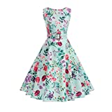 Aoopi Women's Vintage Printing Dresses Sleeveless Halter Evening Party Prom Swing Dress (Green, 2XL)