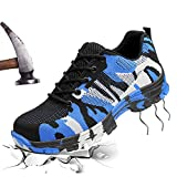 JACKSHIBO Mens Womens Work Safety Shoes, Breathable Outdoor Steel Toe Footwear Industrial and Construction Shoes,Hiking Shoes,Blue 45