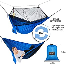 YOLO Outdoors Camping Hammock with Mosquito Net   Double, Reversible, Portable, Lightweight & Ripstop Parachute Nylon with 500 LBS Capacity   Includes Tree Straps, Carabiner & First Aid Kit