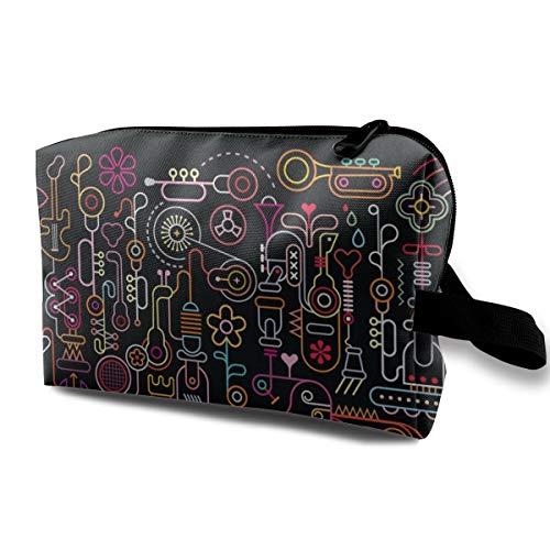 Abstract Music Cosmetic Bags Makeup Organizer Bag Pouch Zipper Purse Handbag Clutch Bag ()