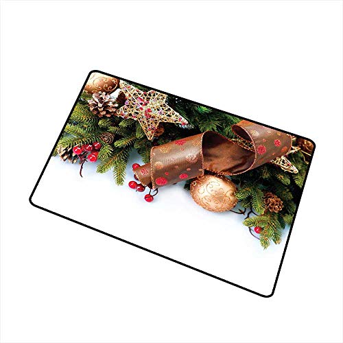 RelaxBear Christmas Welcome Door mat Pine Cones with Garland Tree Topper Star Mistletoe and Swirled Ornate Elements Door mat is odorless and Durable W15.7 x L23.6 Inch Multicolor
