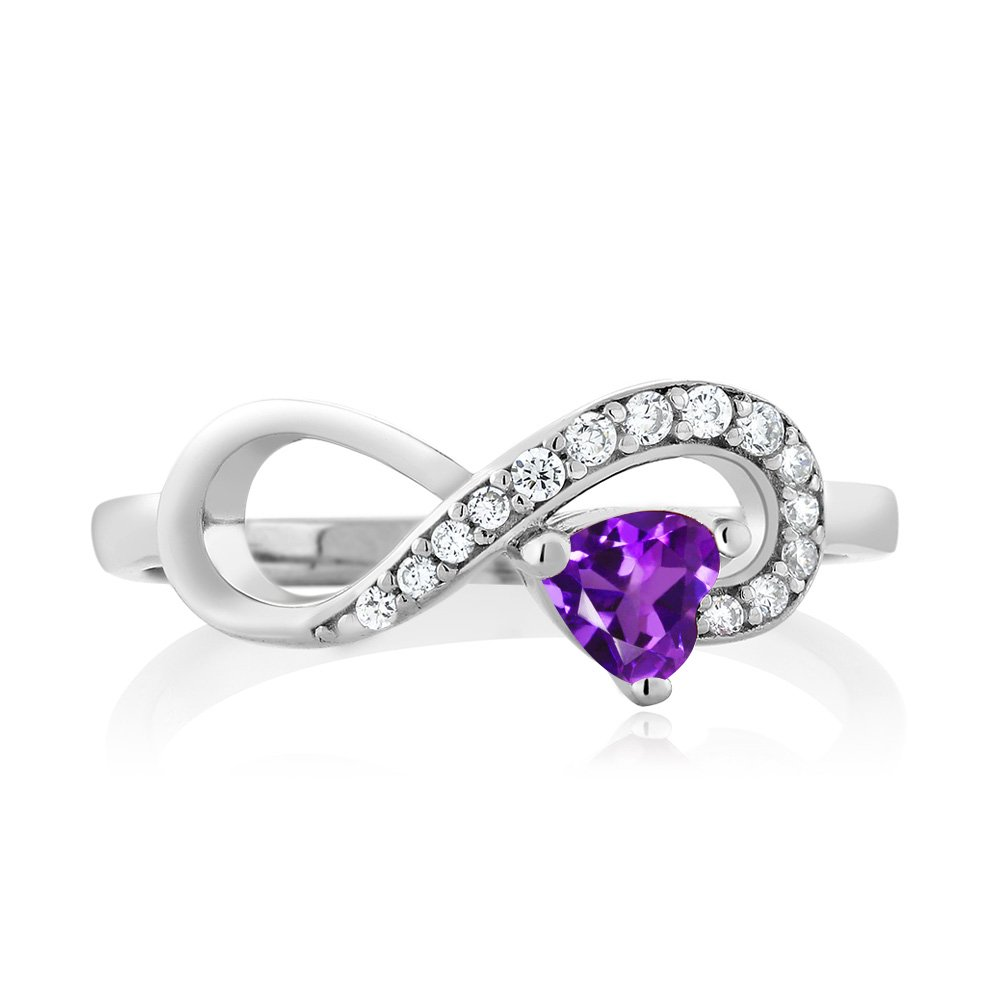 Gem Stone King 925 Sterling Silver Purple Amethyst Women s Infinity Ring 0.33 Ctw Heart Shape Gemstone Birthstone Available 5,6,7,8,9