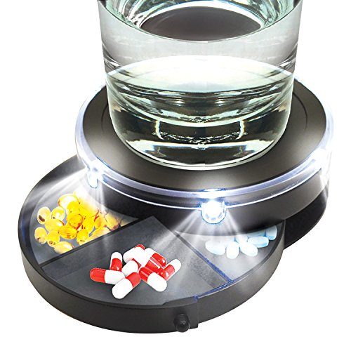 017874015450 - Sound Activated Nightstand Caddy with Pill Organizer and LED Lights carousel main 1