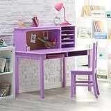 Guidecraft Children's Media Desk and Chair Set Lavender: Student Study Computer Workstation, Wooden Kids Bedroom Furniture