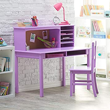 Guidecraft Children\'s Media Desk and Chair Set – Lavender: Student\'s Study  Computer Workstation with Hutch and Shelves, Wooden Kids Bedroom Furniture