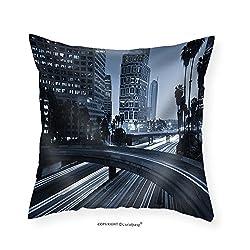 VROSELV Custom Cotton Linen Pillowcase Traffic Through Downtown Los Angeles - Fabric Home Decor 18x18
