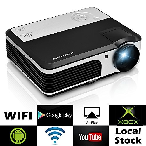 EUG Wireless Home Cinema LED LCD Video Projector, HD 1080P 720P HDMI WiFi droid Miracast iOS Airplay Support for Netflix Apps Chromecast Smartphone DVD Blu Ray TV Roku Game Consoles (Best Mobile Projector App)