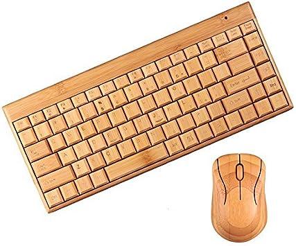 Wood Life - Teclado de Madera de bambú inalámbrico y ratón para Ordenador portátil (1 par, Hecho a Mano, ecológico, 2,4 g)