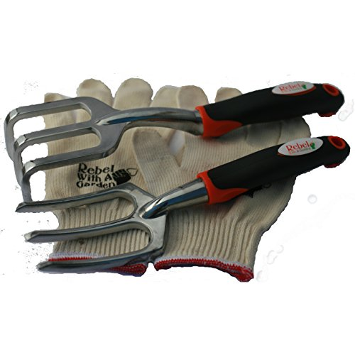 Rebel With A Garden Rebel Trident Duo Cultivator Weeder Raker Gardening Tool Set and Bonus Cotton Gloves by Rebel With A Garden