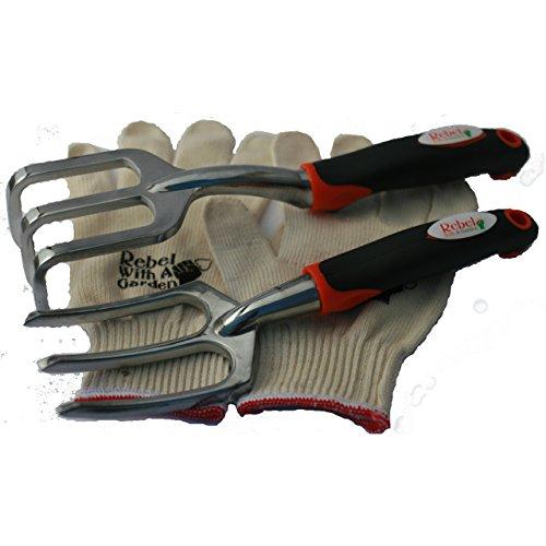 Rebel With A Garden Rebel Trident Duo Cultivator Weeder Raker Gardening Tool Set and Bonus Cotton Gloves ()