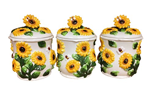 ACK Sunflower 3pc Canister Storage Set 3-d New