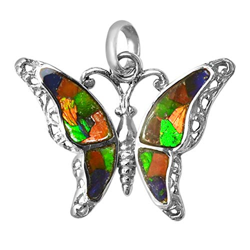 Starborn Ammolite and Sterling Silver Butterfly Pendant with Bail