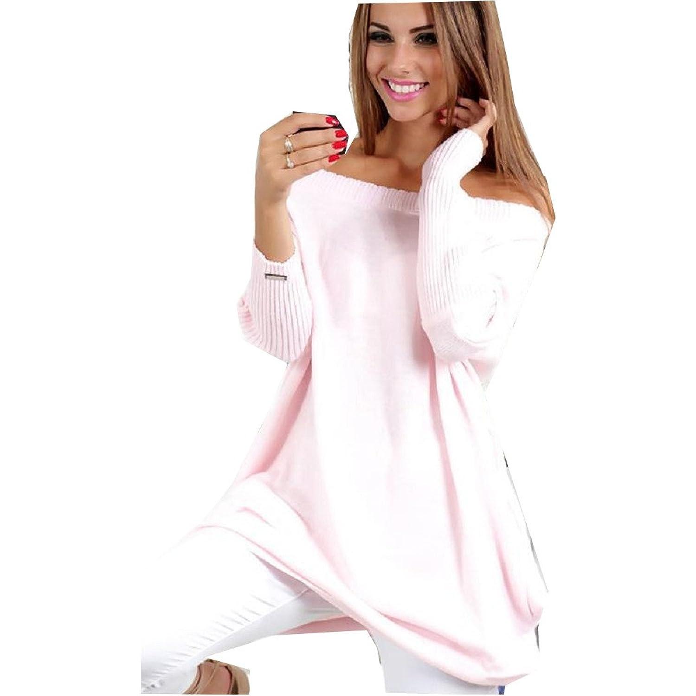 AL001 Women 2018 Pink Women Sweaters Long Sleeve Long Sweater Off Shoulder Knitted Pullovers Knitwear Jumper