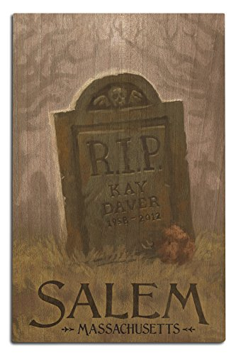 Lantern Press Salem, Massachusetts - Headstone - Halloween Oil Painting (12x18 Wood Wall Sign, Wall Decor Ready to Hang)