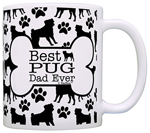 Dog Owner Gifts Best Pug Dad Ever Paw Pattern Gift Coffee Mug Tea Cup Bone Pattern