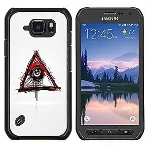 Caucho caso de Shell duro de la cubierta de accesorios de protección BY RAYDREAMMM - Samsung Galaxy S6Active Active G890A - Mal Sangrado Illuminati Ojo