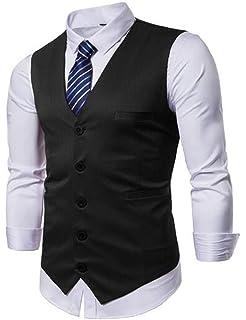 JYZJ Mens Single Breasted Color Block Sleeveless Business Dress Suit Tuxedo Vest