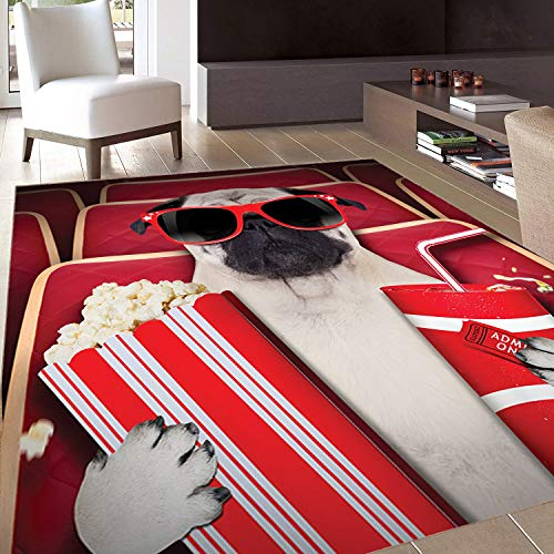 - Rug,Floor Mat Rug,Pug,Area Rug,Funny Dog Watching Movie Popcorn Soft Drink and Glasses Animal Photograph Print,Home mat,3'x5'Red Cream Ruby,Rubber Non Slip,Indoor/Front Door/Kitchen and Living Room/Be