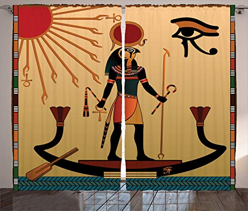 Ambesonne Egyptian Decor Curtains 2 Panel Set, Ancient Figure Sun Old Egyptian Faith Grace Icons Tradition Illustration, Living Room Bedroom Decor, 108 W X 84 L Inches, Multi