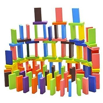 piezas autntico estndar de bloques madera domin de color brillante juguetes juego para nios chicos